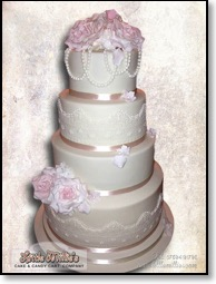 Lace and Pearl Vintage Wedding cake by Little Millie's-1-4